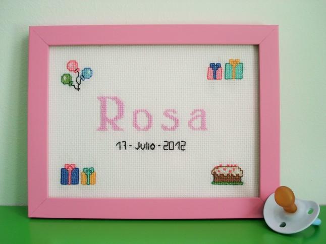 Cuadro de 15 x 20 cm, rosa claro. Tiempo de elaboración: 6 h